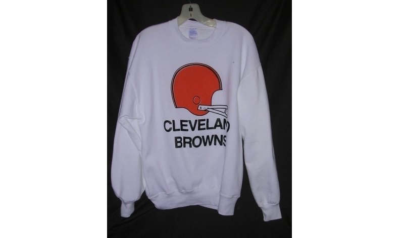 Cleveland Browns Football Sweatshirt Black Letters Made in USA Men L Vintage NEW FREE S&H in USA
