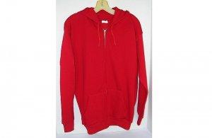 Zip Zipper Hoodie Sweatshirt Red Tultex Adult/Teen Hoody/Hooded Pockets Jacket Made in USA VTG NEW