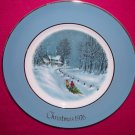 Avon Christmas Plate 1976-Bringing Home The Tree-9 inch Vintage Good Condition Crazed