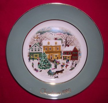 Avon Christmas Plate 1980-Country Christmas-9 inch Vintage Excellent Condition