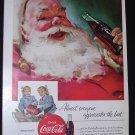 Coca Cola Christmas 1955 Santa Claus/Twin Girls National Geographic advertisement Vintage Coke