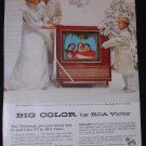RCA Victor Christmas 1955 New 21-inch color TV National Geographic advertisement Vintage Television
