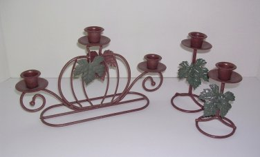 Pumpkin Candle Holder 3-piece set wrought iron/metal home interior Thanksgiving Table Decoration