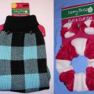 "Dog Sweater Med 14"" Plaid and Ruff & Cuff Set-collar/ears bells fur Merry Bright NEW NWT"