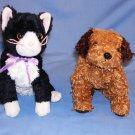 "2 TY, Inc) Tunnels Tan Dog 6""~Fussy Black/White Cat 7"" Stuffed Animal Toys Free Shipping EUC"