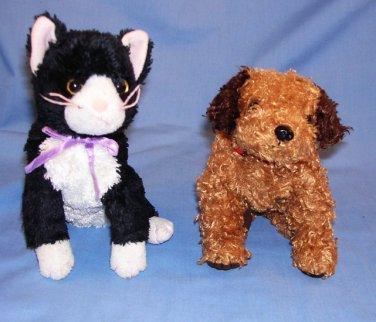 "2 TY, Inc) Tunnels Tan Dog 6""~Fussy Black/White Cat 7"" Stuffed Animal Toys Free Shipping EUC"
