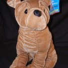 "Shar-Pei Plush Dog 12"" Tan Velvety Stuffed Animal Six Flags Game Prize Souvenir Toy Free Shipping"