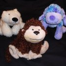 "3) GANZ Webkinz brown monkey 8""/blue dog 9""/white polar bear 9"" Plush Stuffed Animal Toy Free Ship"