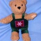 "Hallmark Cards Plush Teddy Bear Tan 10"" Velveteen Green Overalls Snowflake EUC Free Shipping"