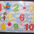 Curious George Count To Ten Wooden Tray Puzzle Wood Teach/Learn Numbers Rose Art Free Shipping