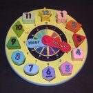 Melissa & Doug Wooden Shape and Number Sorting Clock Learning Teaches Colors, Numbers, and Time EUC