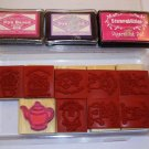 8 Stampin up rubber stamps~1 Stampability tea pot stamp~3 ink pads NEW Free Shipping