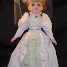 "China/Porcelain 17"" Doll with Cloth Body Wedding Dress with Veil Blue Eyed Blonde EUC"