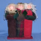 "3) Angels Christmas Caroling 10"" Tall Cloth Covered/Square Dowel/Wooden Base/Harp EUC"