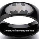 BATMAN Dark Knight Laser-Etched Logo Black Stainless Steel Ring (Size 9)