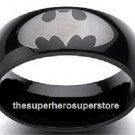 BATMAN Dark Knight Laser-Etched Logo Black Stainless Steel Ring (Size 8)
