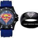 SUPERMAN Man of Steel Black on Blue Sport Watch & Black Stainless Steel Ring (Size 8)