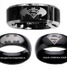 BATMAN vs SUPERMAN 3-Ring Set (1) 2-Tone Tungsten Ring & (2) Black Stainless Steel Rings (size 9)