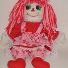 """Handmade 15"""" Raggedy Ann Dressed in her Valentines Best"""