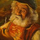 VINTAGE PAINTING OF EARLY SEAMAN SMOKING A PIPE