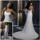 FW314 Free Shipping Beach Style One-shoulder Ruffle Chiffon A-line Wedding Dress