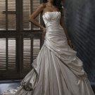 FW331 Free Shippinng Sleeveless Ruffle A-line Satin Bridal Dress