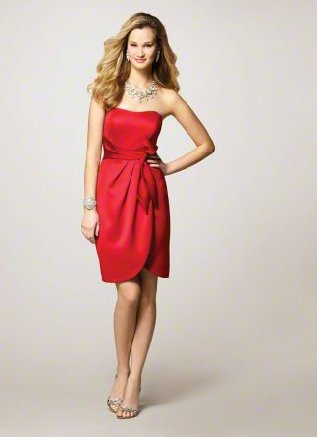 FB0003 Sweetheart A-line Knee-length Satin Bridesmaid Dress