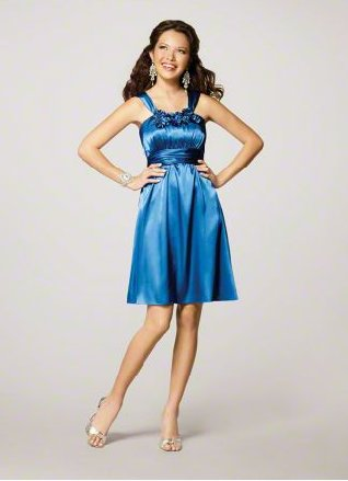 FB0008 Spaghetti Strap A-line Knee-lengh Satin Bridesmaid Dress