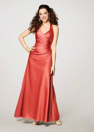 FB0011 Halter Mermad Floor-length Satin Bridesmaid Dress