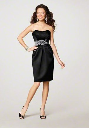 FB0014 Sweetheart A-line Knee-length Satin Bridesmaid Dress