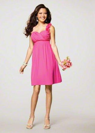 FB0016 One-shoulder  A-line Knee-lengh Chiffon Bridesmaid Dress