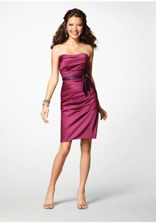 FB0021 Sweetheart A-line Knee-length Satin Bridesmaid Dress