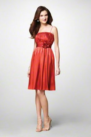 FB0024 Spaghetti Strap A-line Knee-lengh Satin Bridesmaid Dress
