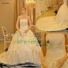 R0004 Real Sample Ball Gown Strapless Satin Bridal Gowns