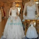hand-made flower one-shoulder wedding dress