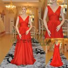 Lastest V-neck Elastic Satin Formal Evening Dresses