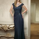 V0107 Elegant Cap Sleeves V-neck Sheath Chiffon Royal Blue Mother Dresses