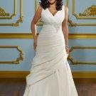 V0133 Free Shipping V-neck Taffeta A-line Plus Size Wedding Dresses 2012