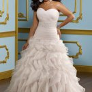 V0137 Top Sale Organza Cournt Train Plus Size Sweetheart Ivory Wedding Dresses