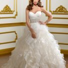 V0140 Amazing Sweetheart Ball Gown Ruffles Beaded Wedding Dresses