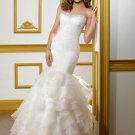 V0145 Free Shipping Sweeetheart Organza with Beaded White Mermaid Bridal Gowns