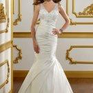 V0147 Free Shipping V-neck Spaghetti Straps Satin Mermaid Wedding Dresses