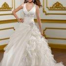 V0153 Top Sale Spaghetti Straps V-neck Ball Gowns Organza Wedding Dresses