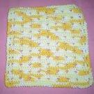Yellow and White Crocheted Dishcloth