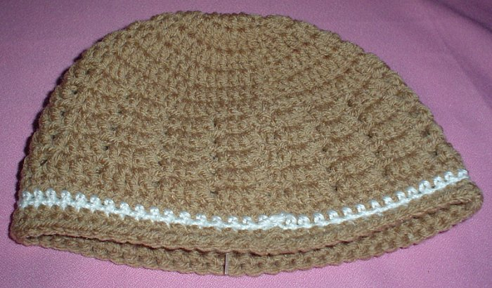 Boys Tan with White Stripe Beanie Hat