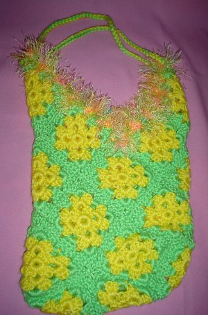 Granny Square Beach Bag Green and Yellow with fur