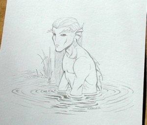 Wizards of the Coast Original ART #12 Water Fairy NICE!