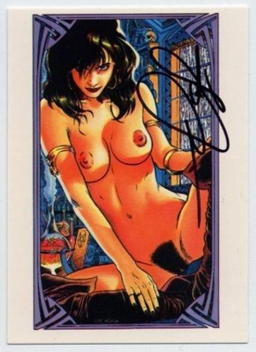 Super Rare Signed Autographed Steve Woron NUDE VAMPIRELLA card Sexy! WOW!