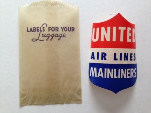 AMERICAN AIRLINES Luggage Sticker Still in Glassine Envelope w/ Gummed Back 1950