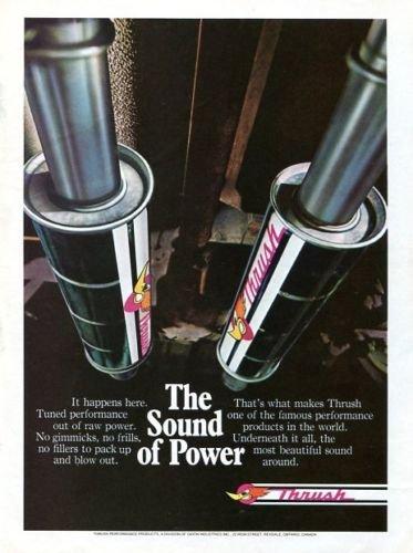 "Vintage THRUSH Mufflers ""The Sound of Power"" 1973 Advertisement +Bonus Ad FREE!"